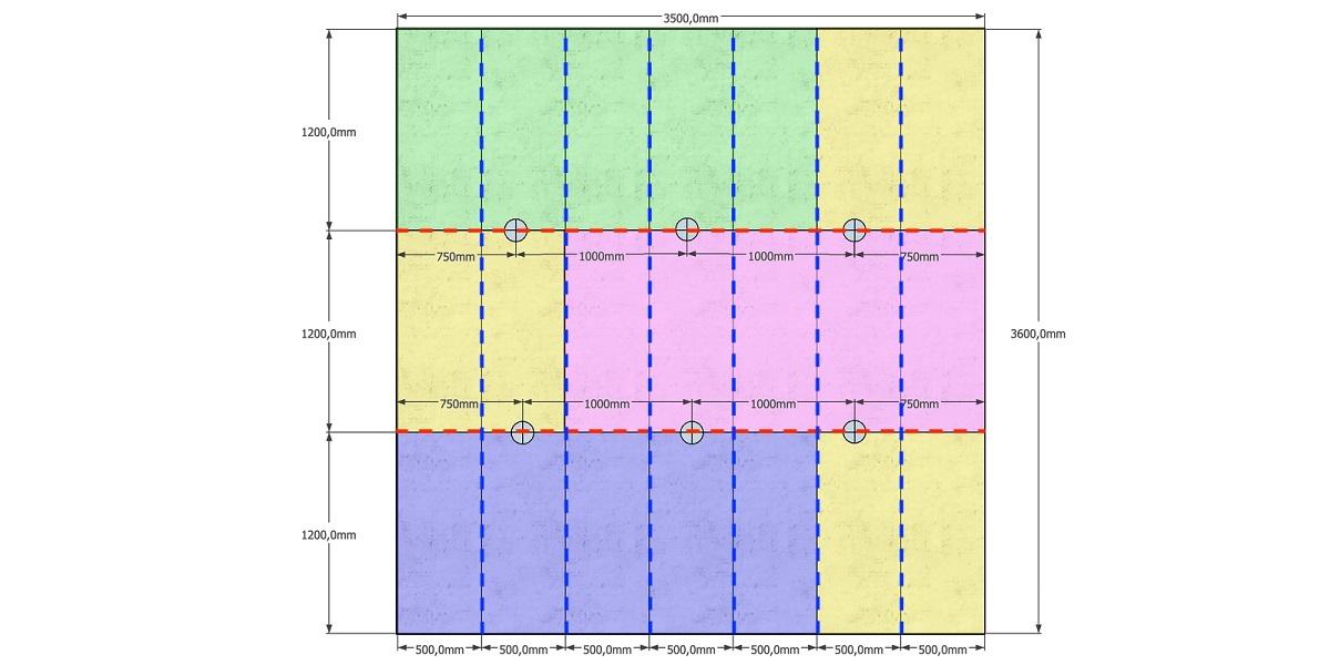 Основные профили отмечены красной линией, несущие — синей, точки крепления подвесов — серыми кружками